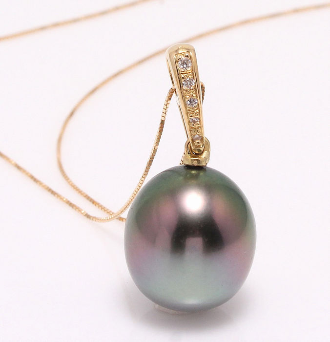 NO RESERVE PRICE - 18 kt. Yellow Gold - 12.4mm Peacock Tahitian Pearl Drop - Necklace with pendant - 0.04 ct