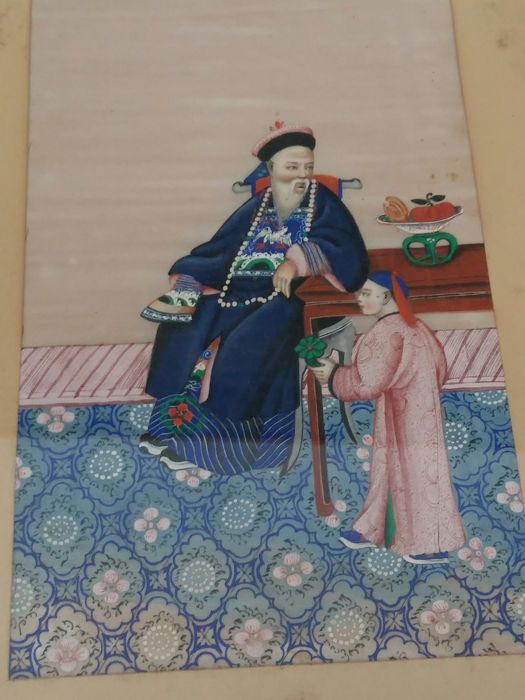 Framed painting - Tempera - pith paper - China - 19th century