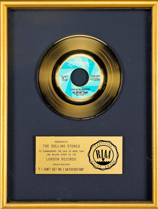 Rolling Stones - (I can't get no) satisfaction - presented to Rolling Stones - Official RIAA award - 1976/1965