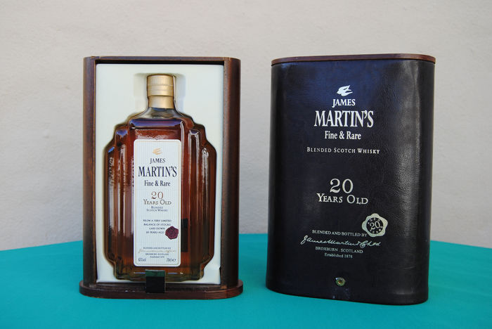 James Martin's 20 years old luxury edition box made with leather and wood box - b. Jaren 1990 - 0,7 Liter