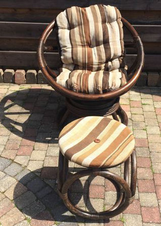 Vintage Lounge Stoel.Vintage Lounge Chair With Footstool Bamboo Catawiki