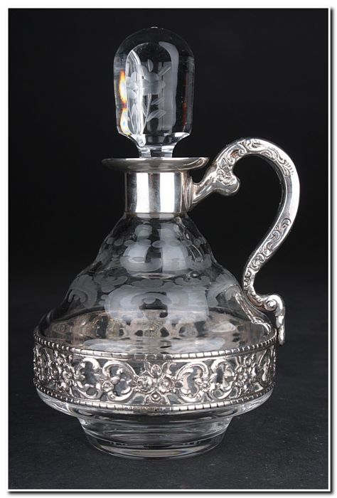 Decanter - .800 silver, Glass - Germany - First half 20th century