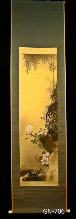 Hanging scroll - Paper, Silk, Wood - Sparrows under bamboo tree - With signature and seal 'Shozan' 祥山 - Japan - 1926-40 (Early showa period)