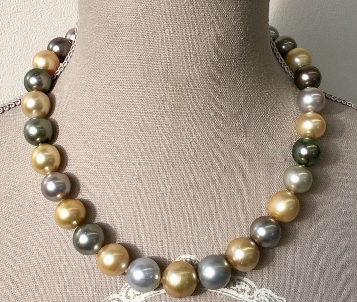 Golden south sea pearls, Multicolor south sea pearls, Saltwater pearls, South sea pearls, Tahitian pearls, 尺寸从13,2到15,83 MM, 白金 - 项链