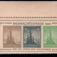 "Geallieerde bezetting - Duitsland (Sovjet-zone) 1945 - Thuringia, ""Christmas Block"" on yellowish grey paper - Michel Bl. 1 t"