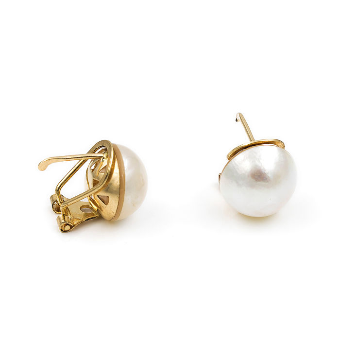 18 kt. Mabe pearls, Saltwater pearls, Yellow gold - Earrings