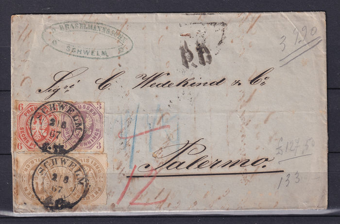 Pruisen 1867 - Tricolour letter with different issues from Schwelm to Palermo - Michel Nr. 15b + 19b + 18b