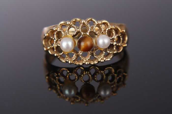 14 kt. Yellow gold - Ring Tiger eye - Pearls