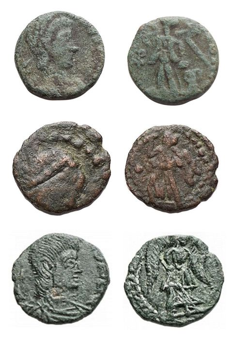 Romeinse Rijk - Barbarians. Lot of 3 Vandals AE coins,  c. 5th- 6th century