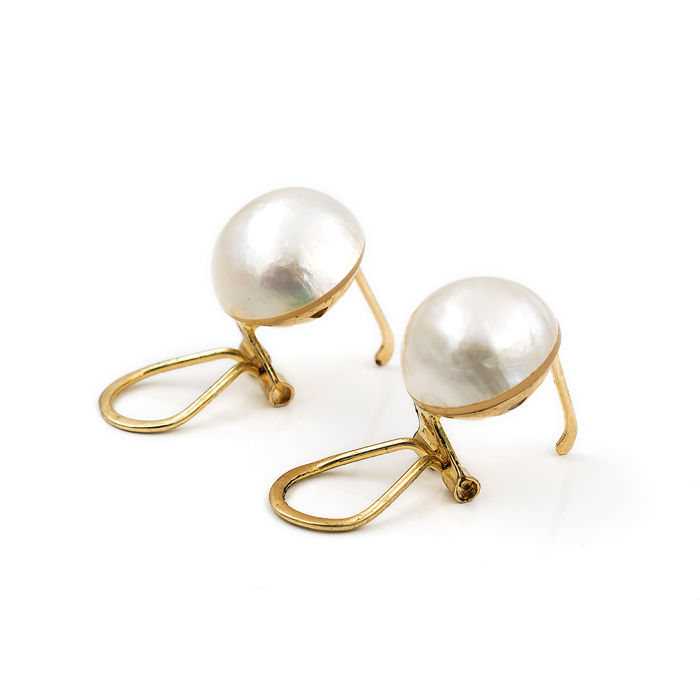 18 kt. Mabe pearls, Yellow gold - Earrings