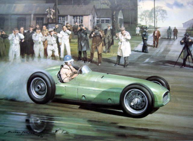 "Zeldzame Race Print - BRM V16 Raymond Mays ""The First B.R.M."" Folkingham Airfield - 1949"