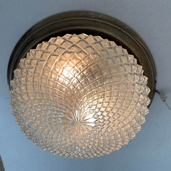 A large ceiling lamp, diamond crystal coupe (1) - crystal glass