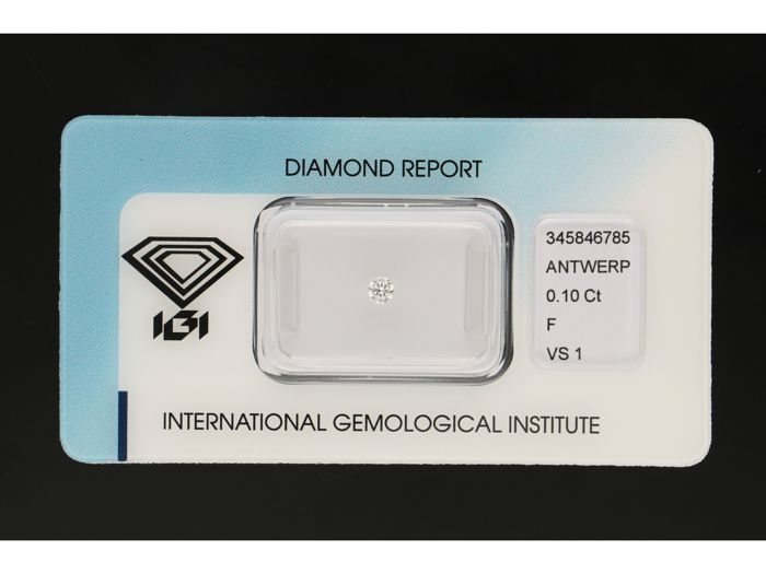 1 pcs Diamante - 0.10 ct - Brillante - F - VS1