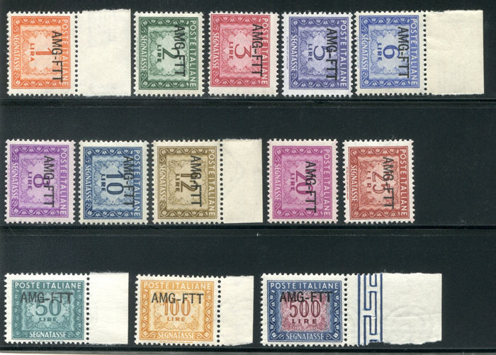 Triest - Zone A 1949/1954 - AMG-FTT, overprinted postage due 13 values - Sassone NN. 16/28