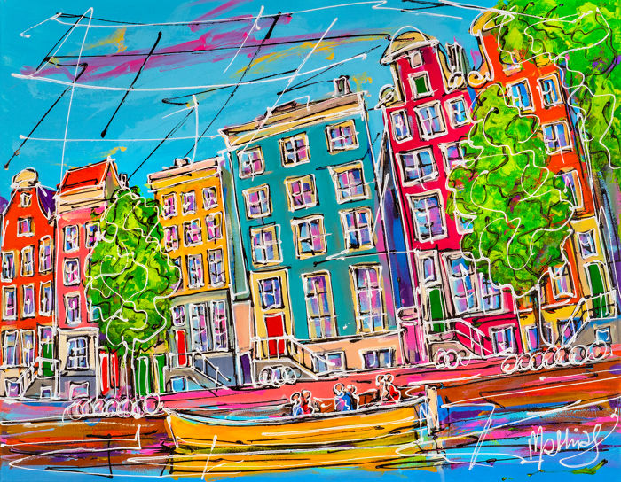 Mathias - Canal of Amsterdam, yellow boat