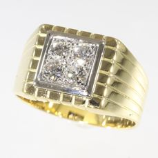18 kt. Gold - Ring, Strong Fifties design - Vintage - Anno 1950 - Diamond