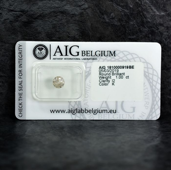 Diamant - 1.00 ct - Briljant - K - I2 - NO RESERVE PRICE