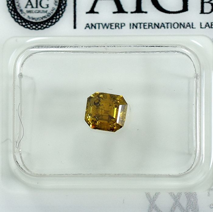 Diamant - 0.72 ct - Smaragd - Natural Fancy Vivid Brownish Yellow - SI2