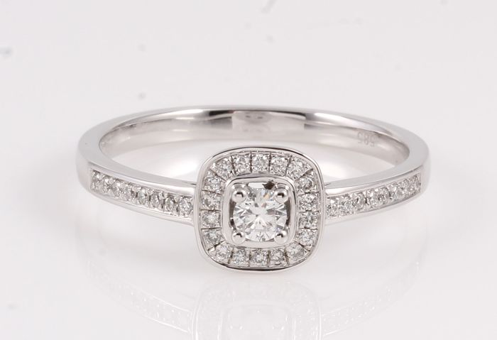 14 karaat Witgoud - Ring - 0.25 ct Diamant