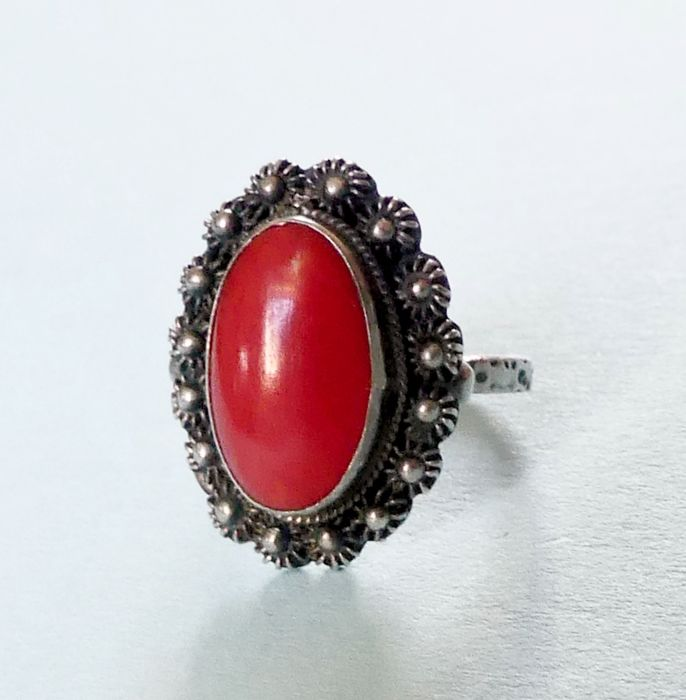 Antique Mediterranean red coral - 925 Srebro - Pierścionek