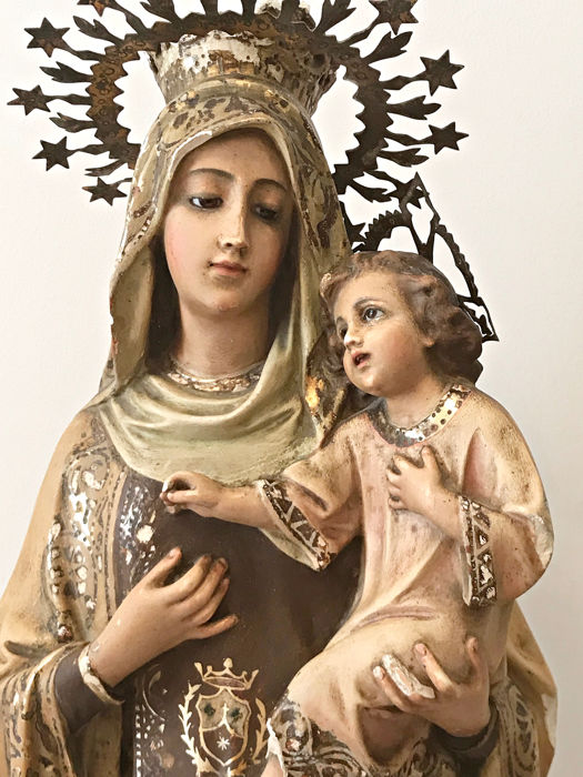 Sculpture, the Virgin of Carmen with Child in her arms - polychrome stucco with wooden base, porcelain eyes - Second half 19th century