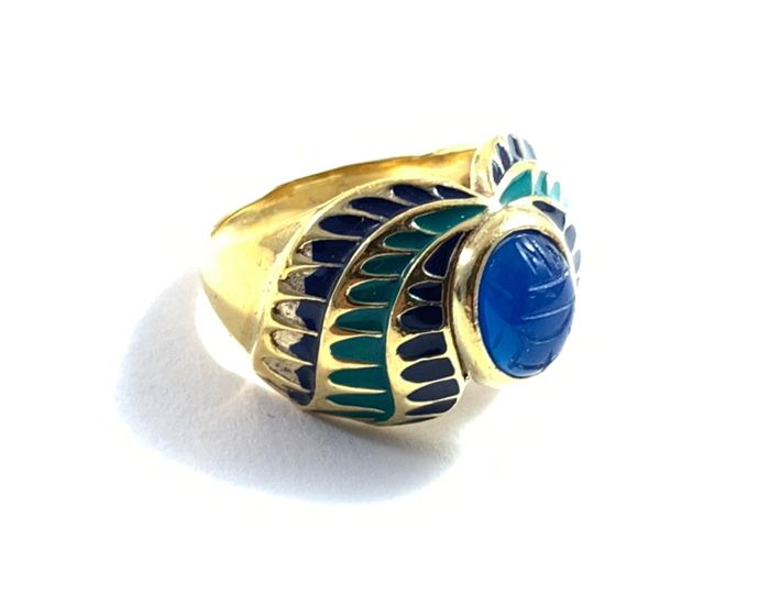 Franklin Mint - The Egyptian ring of the Niel  - Sterling Silver with 24 carat gold plated elements and Lapis Lazuli with a scarab on it - in