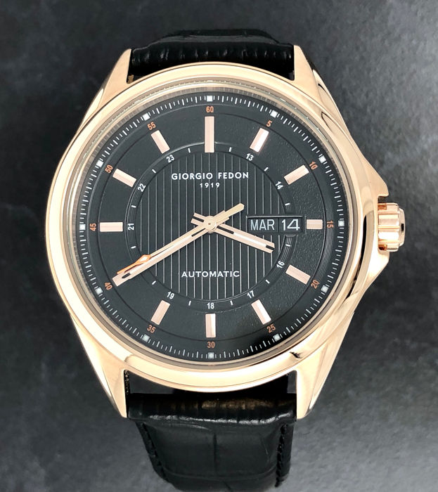 """Giorgio Fedon 1919 - Fedonmatic VII Automatic Black Rose Gold Leather strap  - GFBJ003 """"NO RESERVE PRICE"""" - Heren - BRAND NEW"""