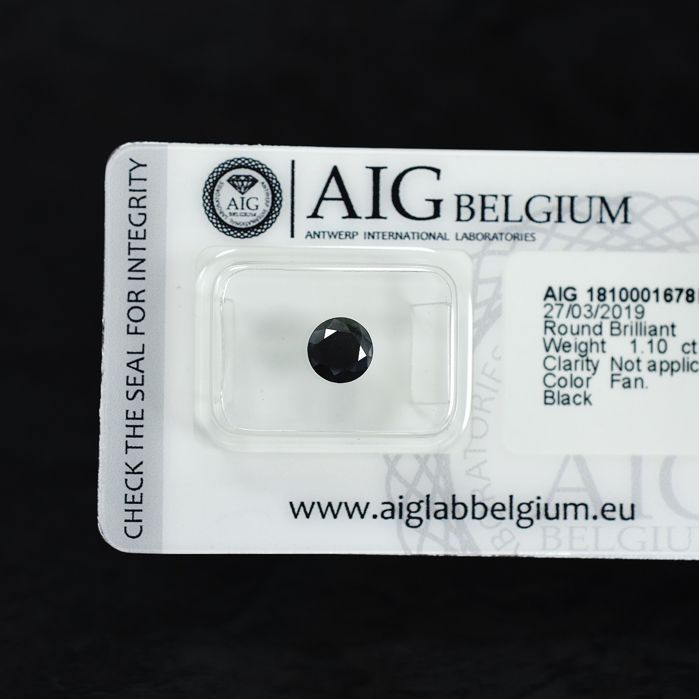 Diamant - 1.10 ct - Briljant - Fancy Black - N/A - NO RESERVE PRICE