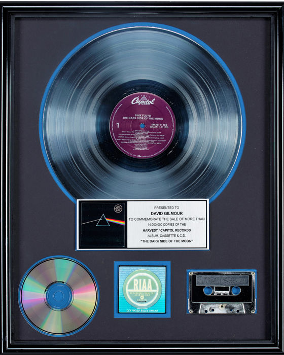 Pink Floyd - Dark Side of the Moon - Presented to David Gilmour - Official RIAA award - 1996/1996