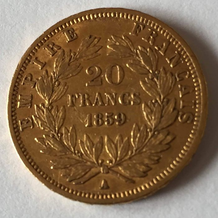 20 Francs 1859-A Napoléon III - Or