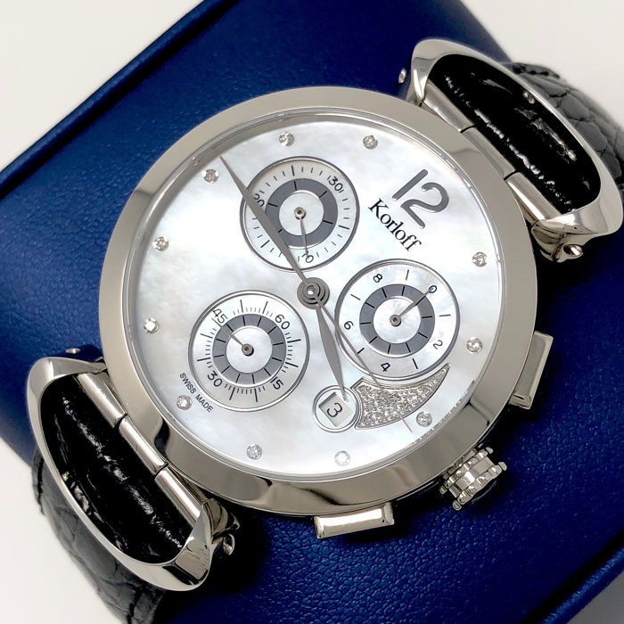 "Korloff - Diamonds Chronograph White Mother of Pearl ""NO RESERVE PRICE"" - VCLAW - Dames - Brand New"