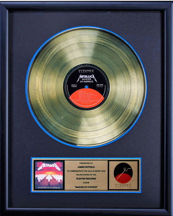Metallica - Master of Puppets - Gold record Award - Presented to James Hetfield - Official In-House award - 1986/1986