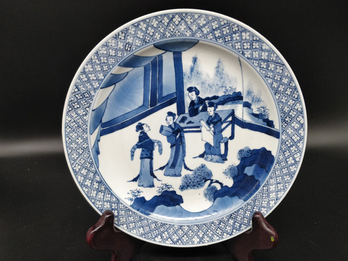 Dish - Blue and white - Porcelain - Woman - China - Second half 20th century