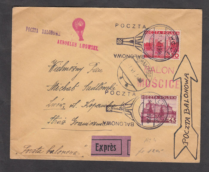 "Polen 1936 - Express letter carried with balloon ""Balonowa"" Col Balon Moscice - Scott diversi numeri di catalogo"