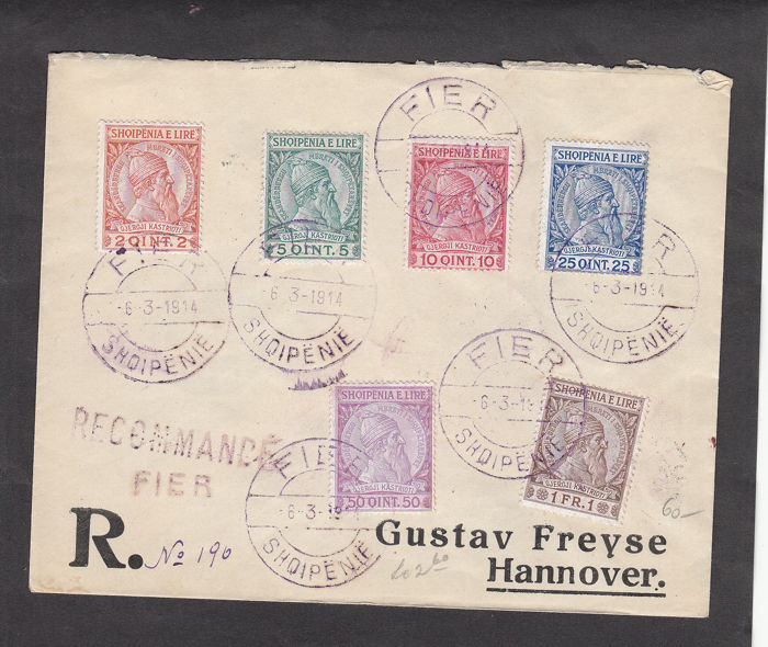 Albanië 1913 - Registered letter no. 190 from 1914 from Fier to Hannover with Skanderbeg series arrival - Sassone diversi numeri di catalogo