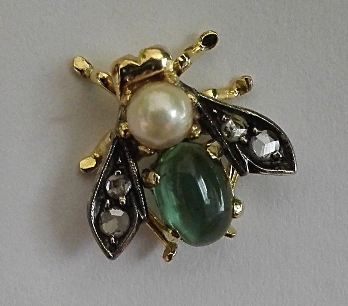 18 kt. White gold, Yellow gold - Brooch Green Tourmaline - Diamonds, Pearl