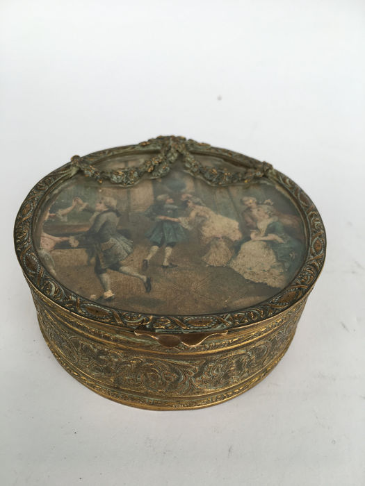 Box - Louis XVI Style - Brass, Textiles - 19th century