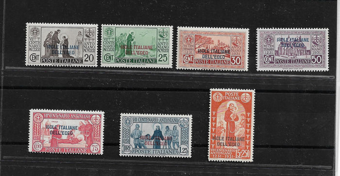 Italian Aegean Islands - general issues 1931 - St. Anthony, complete set of 7 values - Sassone NN. 37/43