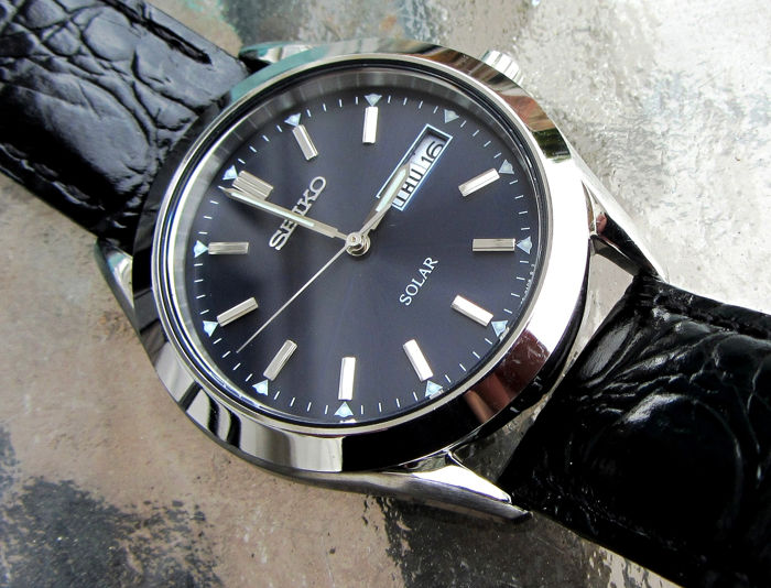 Seiko - Solar Dress Day Date Watch Signed Calf Leather Band - SNE049P9 - Heren - 2011-heden