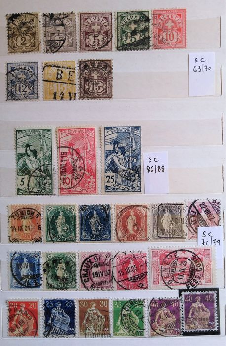 Zwitserland 1882/1956 - selection of complete sets