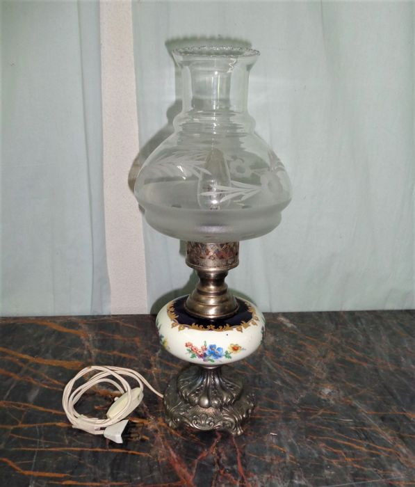 Table Lamp with Glass Shade - Ceramic, Glass, Silverplate