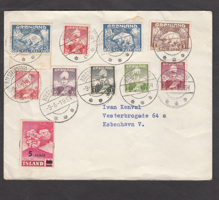 Groenland 1954 - Philatelic letter with first series by Holsteinsborg - Scott diversi numeri di catalogo