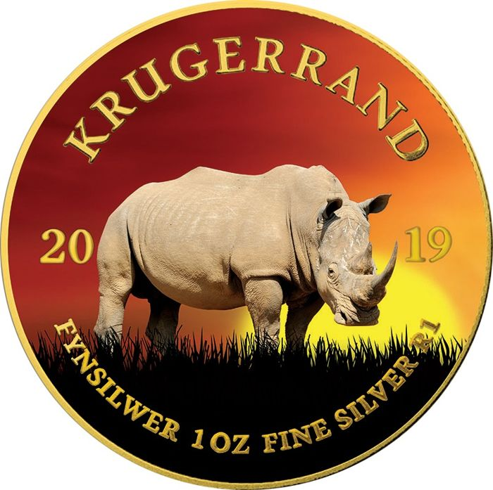 "South Africa - Krugerrand 2019 ""RHINO"" coloured - 1 Oz - Silver"