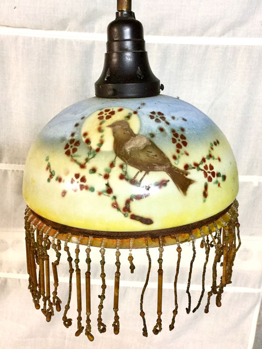 glass is hand painted, Hanging lamp (1) - Bakelite, Glass