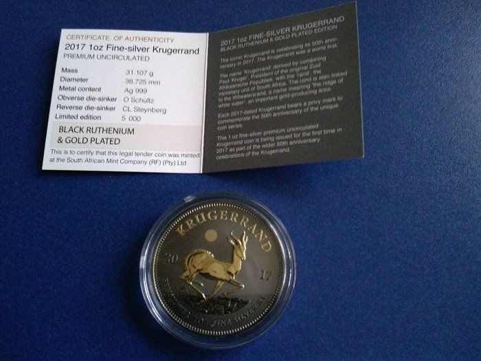 South Africa - Krugerrand 2017 - Black Ruthenium Gilded Edition - 1 Oz - Silver