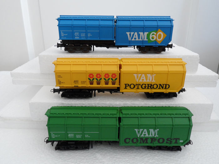 Roco H0 - 4368B/46226/46227 - Freight carriage - 3 four-axle VAM freight cars - NS