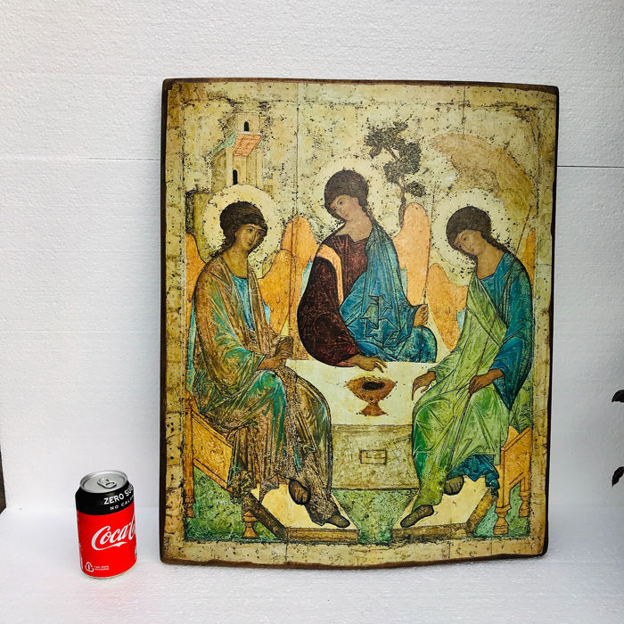 Large wooden Russian Icon (58 cm) - Printed matter on paper, Wood