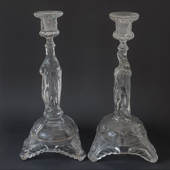 Val Saint Lambert - Two large candlesticks Maria of the Sacred Heart - Glass