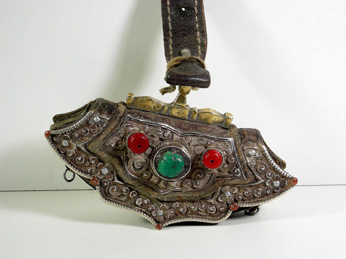 Traditional purse (1) - Leather, bronze, silver, copper, iron sheet - Tibet