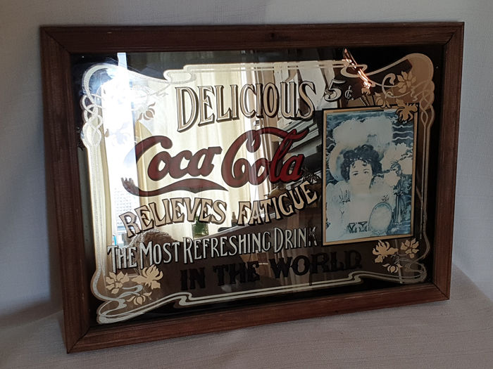 Coca cola mirror - 50s - Glass and wood